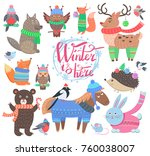 winter is here poster with... | Shutterstock .eps vector #760038007