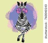 cool zebra in sun glasses... | Shutterstock .eps vector #760040143