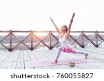 woman practicing yoga pose... | Shutterstock . vector #760055827