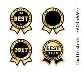 ribbon awards best seller set.... | Shutterstock .eps vector #760056607