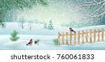 vector winter landscape with... | Shutterstock .eps vector #760061833