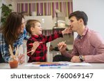 happy family is having fun at... | Shutterstock . vector #760069147