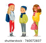 children at the winter clothes | Shutterstock .eps vector #760072837