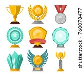 golden trophy cups and awards... | Shutterstock .eps vector #760078477