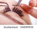 eyelash extension procedure....   Shutterstock . vector #760090933