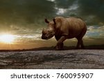 african rhinos walking on dirt... | Shutterstock . vector #760095907