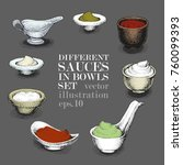 set of different sauces in...