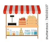 supermarket shelf with weighing ... | Shutterstock .eps vector #760103137