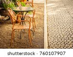 empty chair and table around... | Shutterstock . vector #760107907