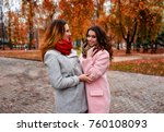 girls friends laughing and... | Shutterstock . vector #760108093