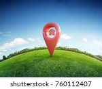 house symbol with location pin... | Shutterstock . vector #760112407