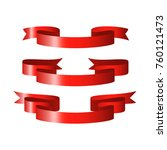 red glossy ribbon vector banners | Shutterstock .eps vector #760121473