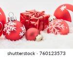 Christmas Present With Snow An...