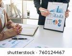 business team meeting present ... | Shutterstock . vector #760124467