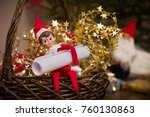 funny christmas dwarf toy with... | Shutterstock . vector #760130863