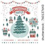christmas market illustration.... | Shutterstock .eps vector #760137643