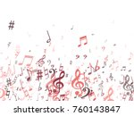 red musical notes flying... | Shutterstock .eps vector #760143847