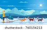 sleddog huskies with mountains... | Shutterstock .eps vector #760156213