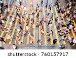 city busy pedestrian crossing | Shutterstock . vector #760157917