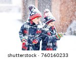 two little kid boys in colorful ... | Shutterstock . vector #760160233