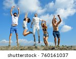 image of young people jumping... | Shutterstock . vector #760161037