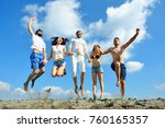 image of young people jumping... | Shutterstock . vector #760165357