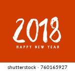 vector 2018 happy new year red... | Shutterstock .eps vector #760165927