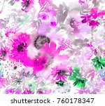seamless summer pattern with... | Shutterstock . vector #760178347