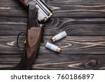open wooden hunting rifle on a...   Shutterstock . vector #760186897