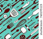 cutlery and kitchen utensils... | Shutterstock .eps vector #760195123