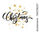 christmas. christmas script... | Shutterstock .eps vector #760198237