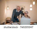 senior couple doing some online ... | Shutterstock . vector #760205347