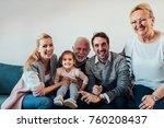 portrait of a three generation... | Shutterstock . vector #760208437