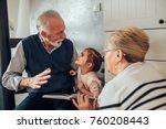 elderly couple reading stories...   Shutterstock . vector #760208443