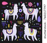 vector set of adorable lamas.... | Shutterstock .eps vector #760217797