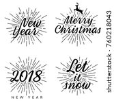 new year and merry christmas... | Shutterstock .eps vector #760218043