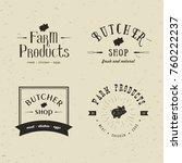 set of retro styled butchery... | Shutterstock . vector #760222237