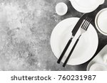 clean white tableware on a gray ... | Shutterstock . vector #760231987