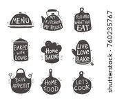 cooking lettering set. hand... | Shutterstock .eps vector #760235767