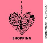 i love shopping icons. the... | Shutterstock .eps vector #760240327