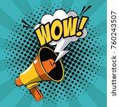 bullhorn pop art | Shutterstock .eps vector #760243507
