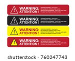 warning sticker english and... | Shutterstock .eps vector #760247743