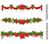 christmas garland with... | Shutterstock . vector #760249303