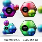 collection of 3d metal... | Shutterstock .eps vector #760255513