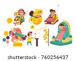 kids  children having fun in... | Shutterstock .eps vector #760256437