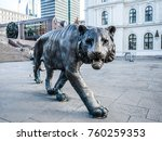 a statue of a tiger standing on ... | Shutterstock . vector #760259353