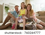 happy family in colorful summer ... | Shutterstock . vector #760264777