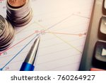 graph on rows of coins for... | Shutterstock . vector #760264927