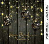 christmas balls with gold stars ... | Shutterstock .eps vector #760265257