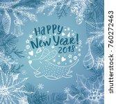 christmas blue background.... | Shutterstock .eps vector #760272463